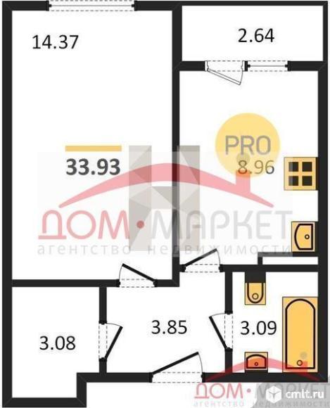 1-комнатная квартира 33,93 кв.м. Фото 1.