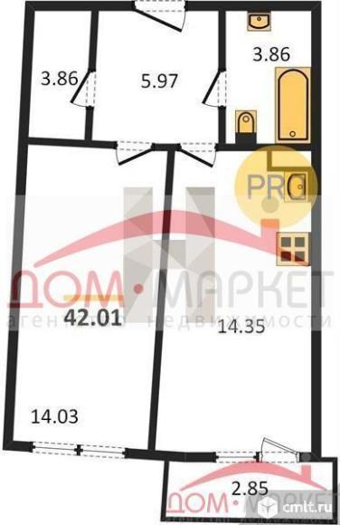 1-комнатная квартира 42,01 кв.м. Фото 1.