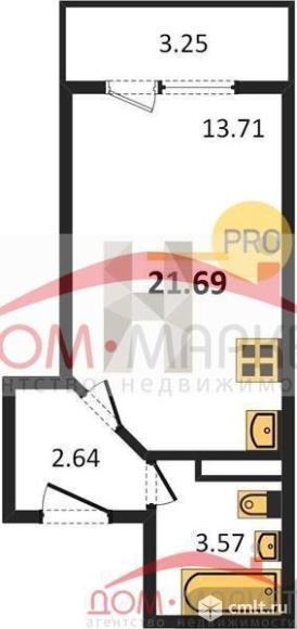 1-комнатная квартира 21,69 кв.м. Фото 1.