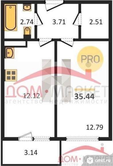 1-комнатная квартира 35,44 кв.м. Фото 1.