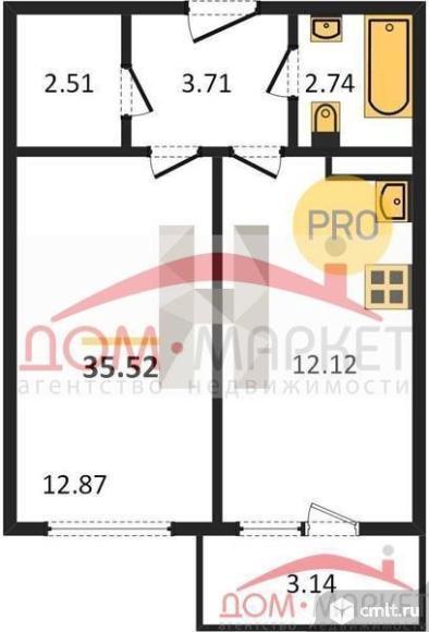 1-комнатная квартира 35,52 кв.м. Фото 1.