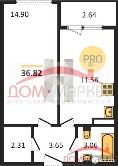1-комнатная квартира 36,82 кв.м. Фото 1.