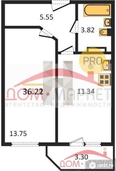 1-комнатная квартира 36,22 кв.м. Фото 1.