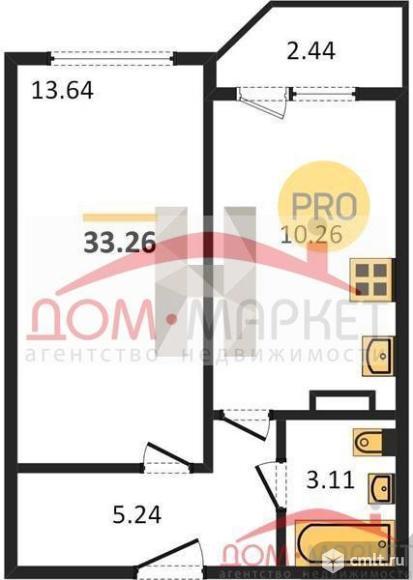 1-комнатная квартира 33,26 кв.м. Фото 1.