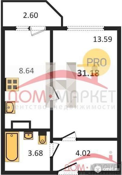 1-комнатная квартира 31,18 кв.м. Фото 1.