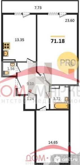 2-комнатная квартира 71,18 кв.м. Фото 1.