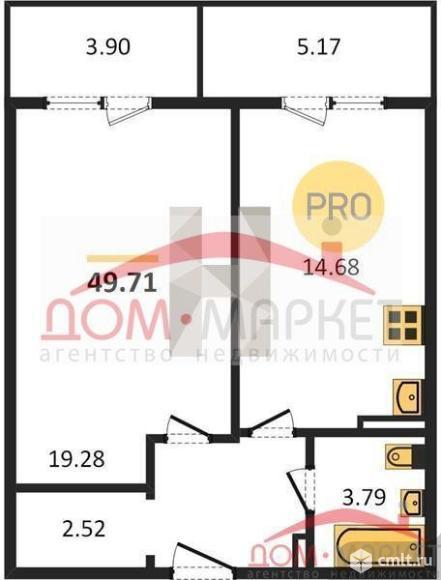 1-комнатная квартира 49,71 кв.м. Фото 1.