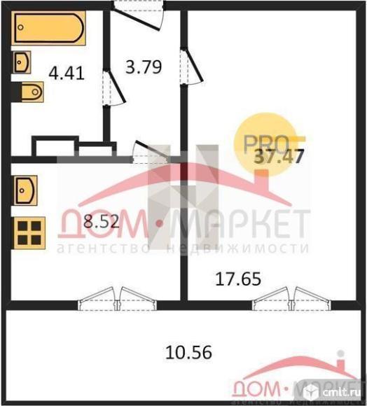 1-комнатная квартира 37,47 кв.м. Фото 1.