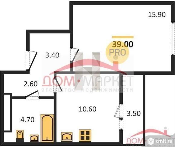 1-комнатная квартира 39 кв.м. Фото 1.