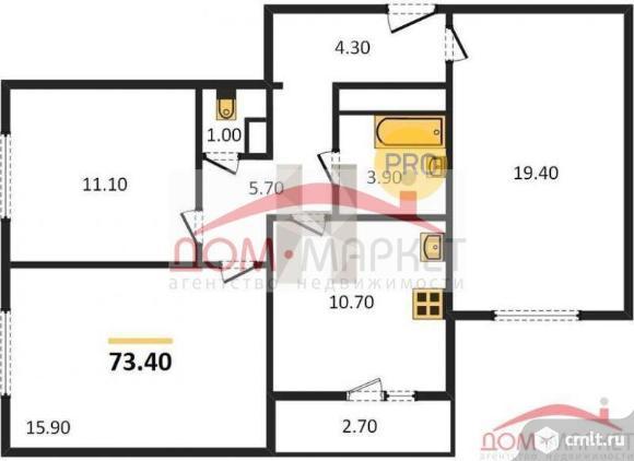 3-комнатная квартира 73,4 кв.м. Фото 1.