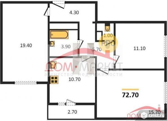 3-комнатная квартира 72,7 кв.м. Фото 1.