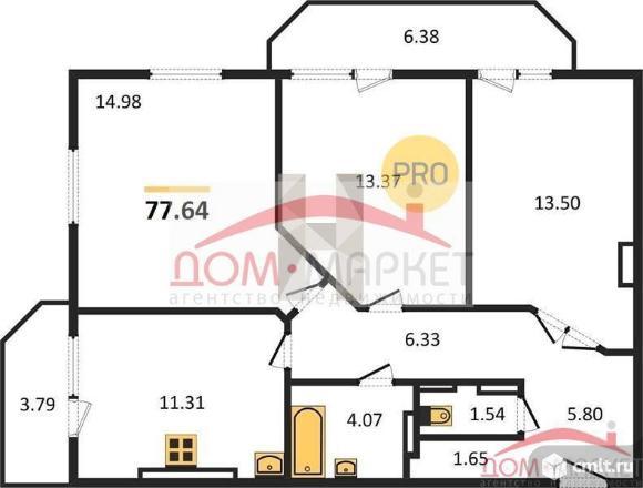 3-комнатная квартира 77,64 кв.м. Фото 1.