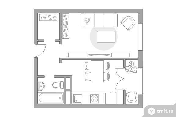 1-комнатная квартира 34,43 кв.м. Фото 1.