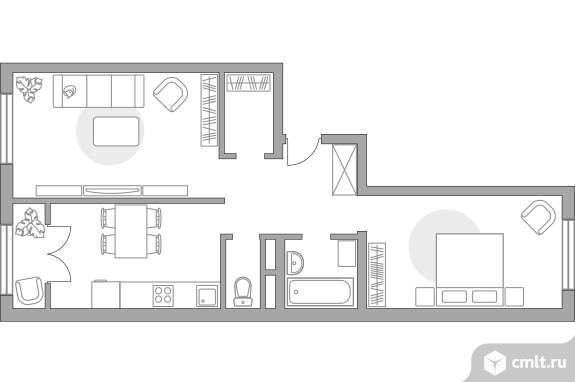 2-комнатная квартира 55,35 кв.м. Фото 1.