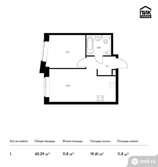 1-комнатная квартира 40,29 кв.м. Фото 1.