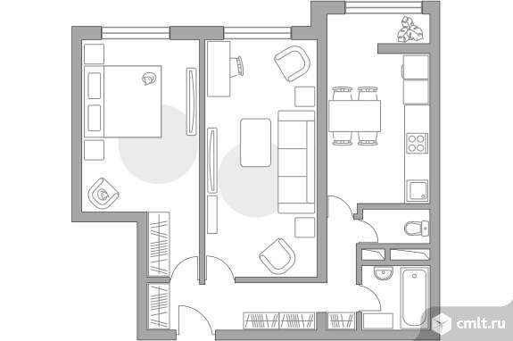 2-комнатная квартира 56,41 кв.м. Фото 1.