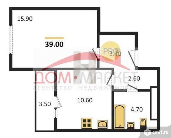 1-комнатная квартира 39 кв.м. Фото 4.