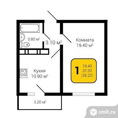 1-комнатная квартира 38,2 кв.м. Фото 5.
