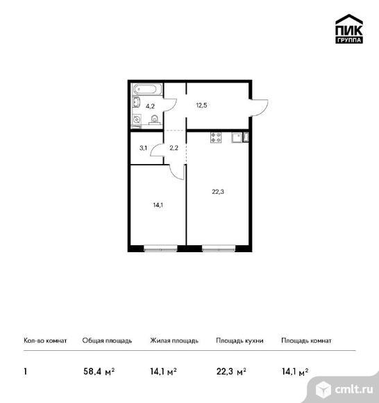 1-комнатная квартира 58,4 кв.м. Фото 1.