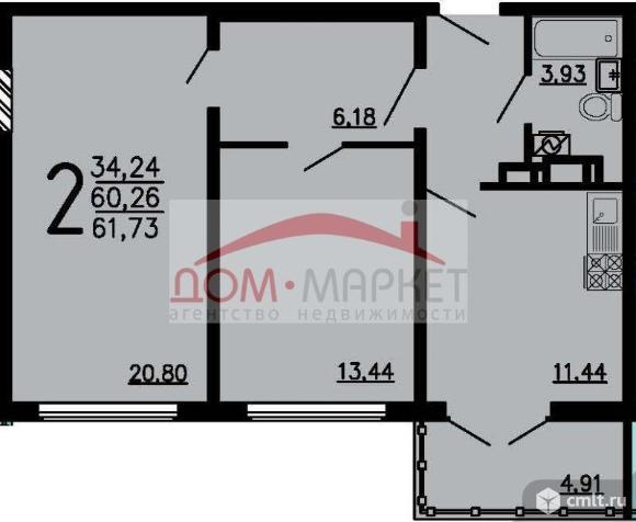 2-комнатная квартира 61,73 кв.м. Фото 1.