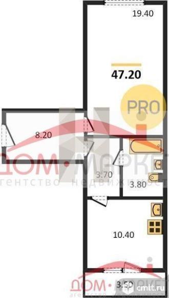 1-комнатная квартира 47,2 кв.м. Фото 1.
