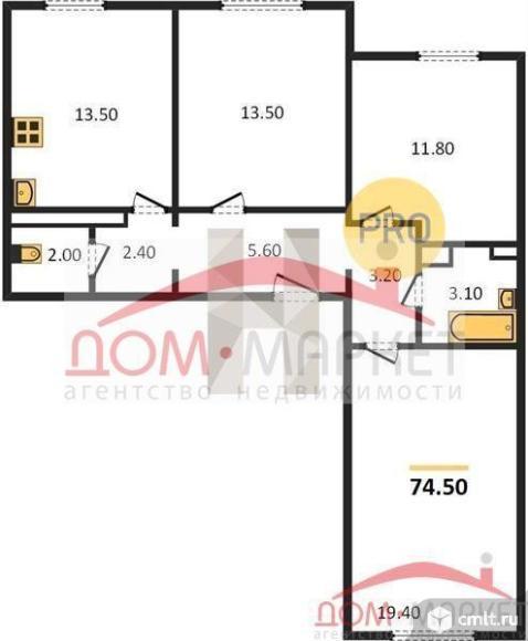 3-комнатная квартира 74,5 кв.м. Фото 1.