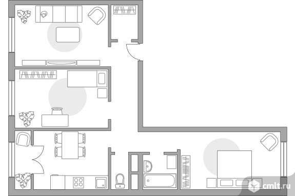 3-комнатная квартира 69,26 кв.м. Фото 1.