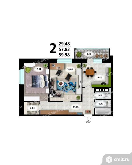 2-комнатная квартира 60 кв.м. Фото 3.
