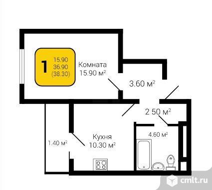 1-комнатная квартира 38,3 кв.м. Фото 5.