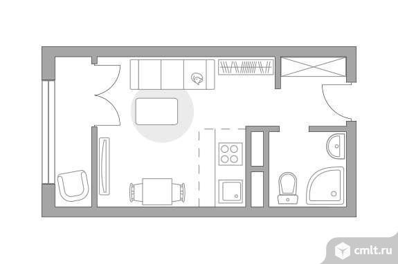 1-комнатная квартира 19,74 кв.м. Фото 1.