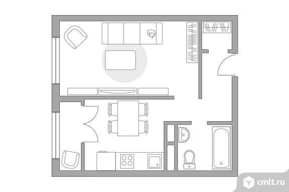 1-комнатная квартира 33,54 кв.м. Фото 1.