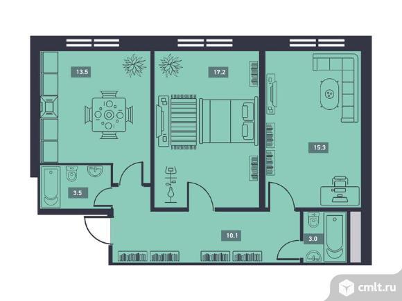 2-комнатная квартира 77,1 кв.м. Фото 1.