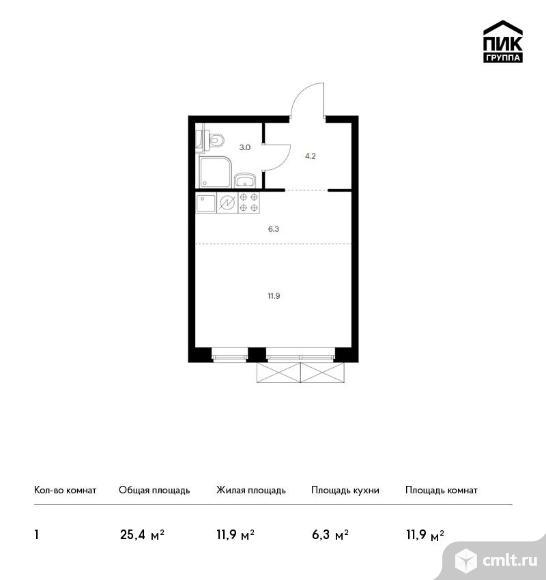 1-комнатная квартира 25,4 кв.м. Фото 1.