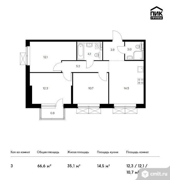3-комнатная квартира 66,6 кв.м. Фото 1.