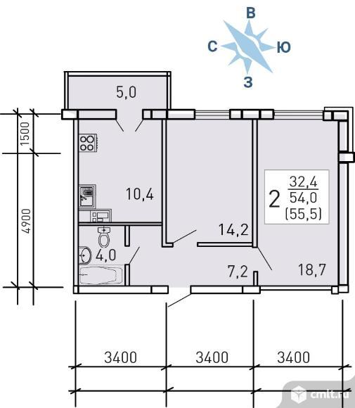2-комнатная квартира 55,5 кв.м. Фото 4.