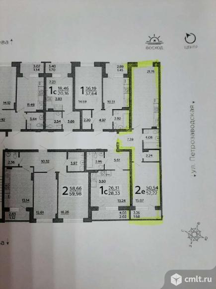 2-комнатная квартира 52,22 кв.м. Фото 3.