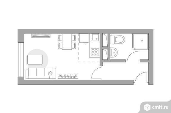 1-комнатная квартира 35,51 кв.м. Фото 1.