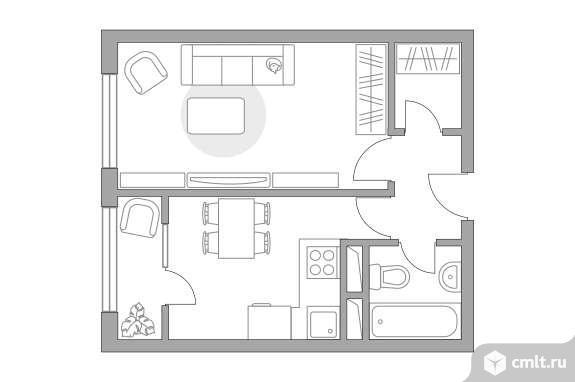 1-комнатная квартира 33,01 кв.м. Фото 1.
