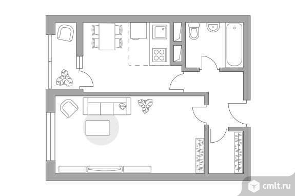 2-комнатная квартира 35,51 кв.м. Фото 1.