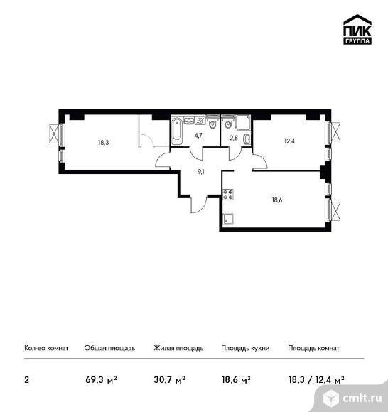 2-комнатная квартира 69,3 кв.м. Фото 1.