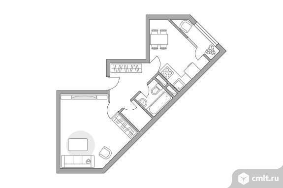1-комнатная квартира 43,13 кв.м. Фото 1.