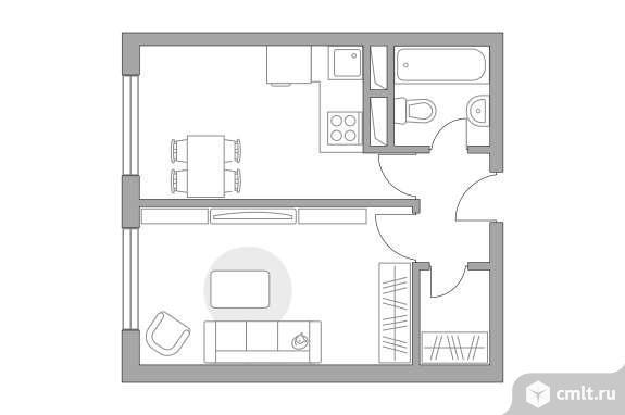 1-комнатная квартира 31,67 кв.м. Фото 1.