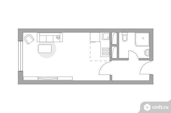 1-комнатная квартира 23,42 кв.м. Фото 1.