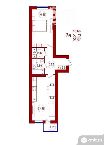 1-комнатная квартира 54,67 кв.м. Фото 1.