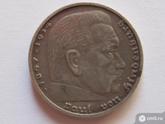 5 марок 1936 Гинденбург Германия серебро 12,5 г. Фото 1.