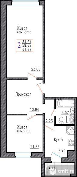 2-комнатная квартира 61,3 кв.м. Фото 1.