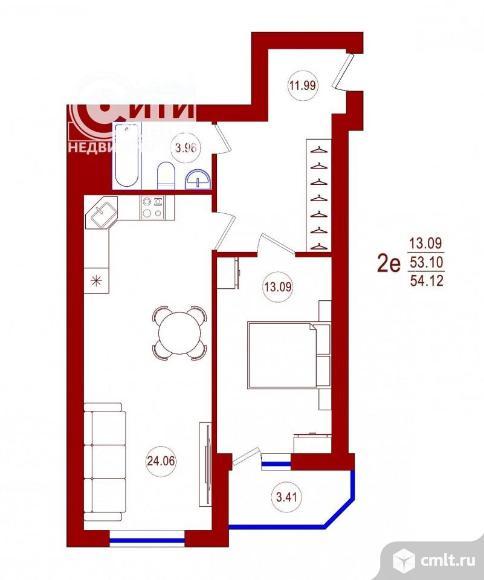 1-комнатная квартира 54,12 кв.м. Фото 1.