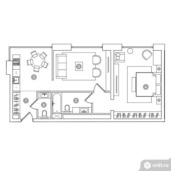 2-комнатная квартира 66,68 кв.м. Фото 1.