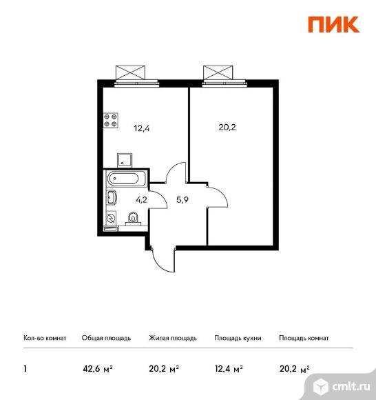 1-комнатная квартира 42,6 кв.м. Фото 1.