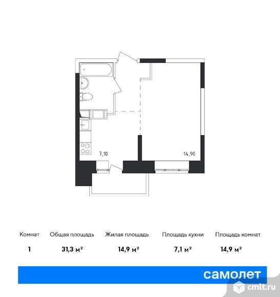 1-комнатная квартира 31,3 кв.м. Фото 1.